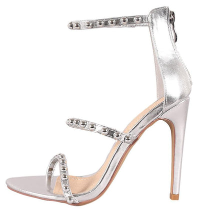 Riley226 Silver Open Toe Studded Three Strap Heel - Wholesale Fashion Shoes
