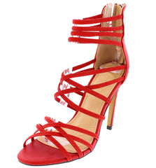 PEYTON RED OPEN TOE MULTI ELASTIC CRISSCROSS STRAP HEEL - Wholesale Fashion Shoes - 2