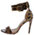 Kylie144 Leopard Open Toe Wide Ankle Strap Stiletto Heel