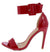 Kylie144 Red Open Toe Wide Ankle Strap Stiletto Heel