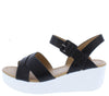Gondola Black Pu Cross Strap Open Toe Slingback Wedge - Wholesale Fashion Shoes