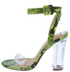Gossip Yellow Snake Open Toe Ankle Strap Lucite Block Heel - Wholesale Fashion Shoes