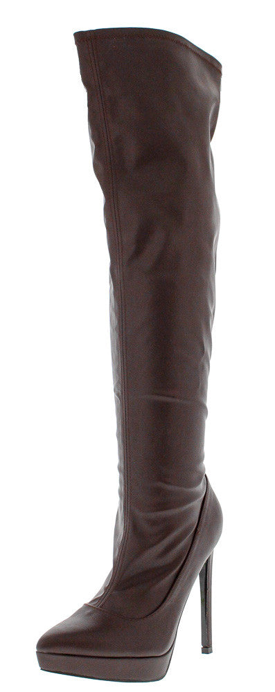 Grace-01 Brown Almond Toe Thigh High Boot - Wholesale Fashion Shoes