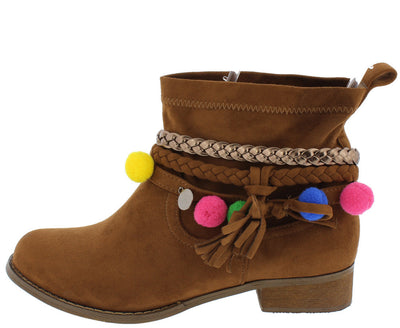 Grace1 Camel Multi Strap Pom Pom Disk Detailed Ankle Boot - Wholesale Fashion Shoes