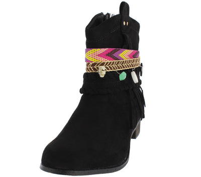 Grace2 Black Multi Embellished Strap Ankle Boot - Wholesale Fashion Shoes