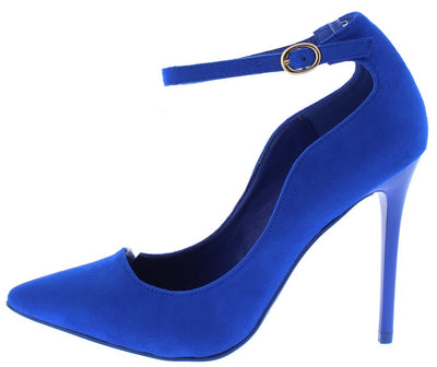 Grace8s Blue Pointed Toe Ankle Strap Stiletto Heel - Wholesale Fashion Shoes