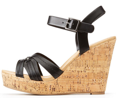 Grace Black Detailed Strappy Open Toe Slingback Cork Wedge - Wholesale Fashion Shoes