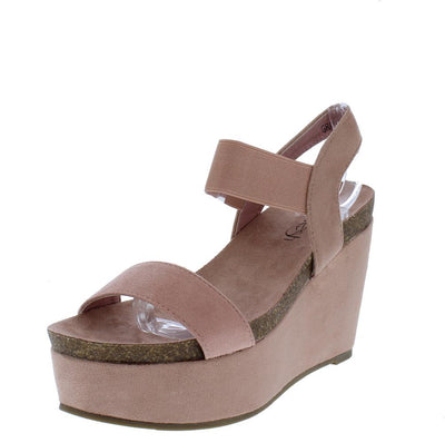 Gracie03 Mauve Open Toe Stretch Ankle Strap Platform Wedge - Wholesale Fashion Shoes