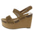 Gracie04 Camel Perforated Open Toe Slingback Platform Wedge
