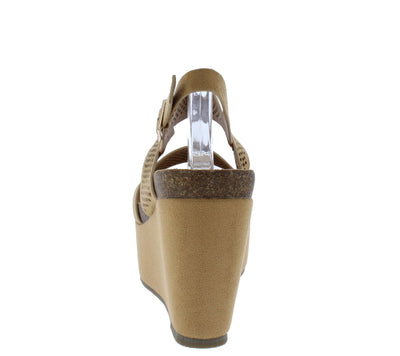 Gracie04 Camel Perforated Open Toe Slingback Platform Wedge - Wholesale Fashion Shoes