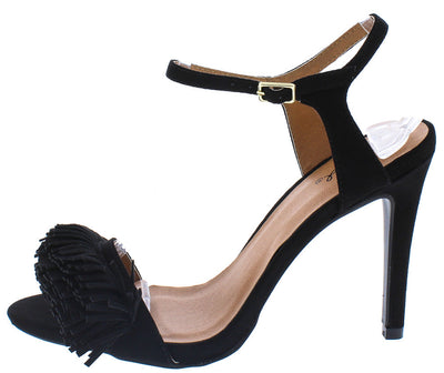 Grammy132 Black Suede Open Toe Fringe Slingback Heel - Wholesale Fashion Shoes
