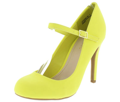 Grand06 Lemon Round Toe Mary Jane Stiletto Heel - Wholesale Fashion Shoes