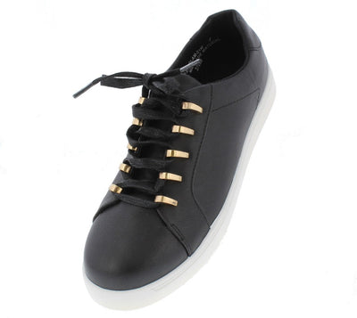 Grandslam21m Black Metallic Lace Up Sneaker Flat - Wholesale Fashion Shoes