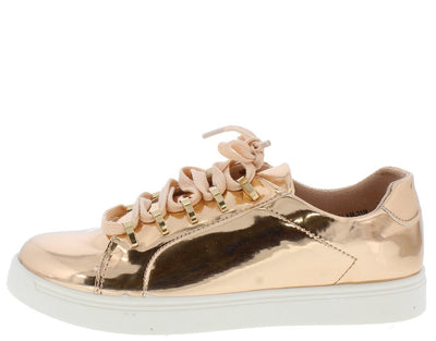 Grandslam21m Rose Gold Metallic Lace Up Sneaker Flat - Wholesale Fashion Shoes