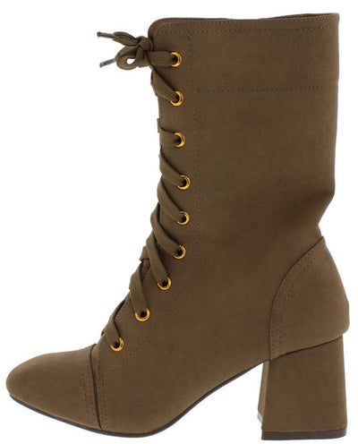 Granny1 Brown Almond Toe Lace Up Mid Calf Riding Boot - Wholesale Fashion Shoes