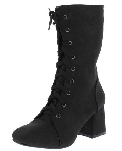 Granny1 Black Almond Toe Lace Up Mid Calf Riding Boot - Wholesale Fashion Shoes