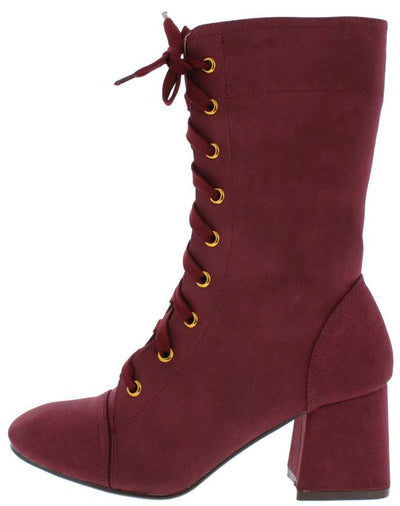 Granny1 Wine Almond Toe Lace Up Mid Calf Riding Boot - Wholesale Fashion Shoes