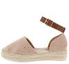 Grass80 Pink Almond Toe Ankle Strap Espadrille Flat - Wholesale Fashion Shoes