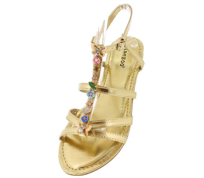 Grayson20 Gold Caged Beaded T-strap Sandal - Wholesale Fashion Shoes