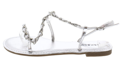 Grayson21 Silver Rhinestone Woven Chain Sandal - Wholesale Fashion Shoes