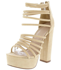 BRIELLE179 NUDE STRAPPY OPEN TOE STACKED PLATFORM HEEL - Wholesale Fashion Shoes