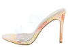Grete1 Cantaloupe Lucite Dual Strap Mule Slide Heel - Wholesale Fashion Shoes