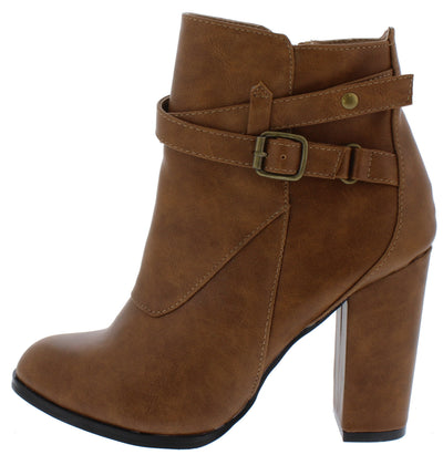 Charlotte056 Tan Wrap Buckle Strap Ankle Boot - Wholesale Fashion Shoes
