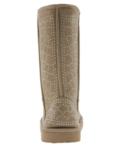Guru33 Beige Faux Fur Rhinestone Boot - Wholesale Fashion Shoes