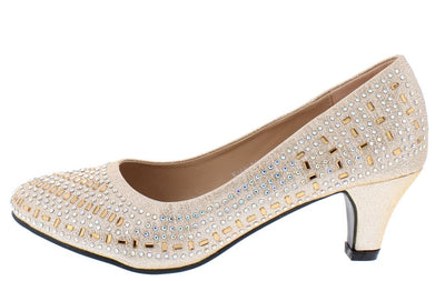 Harper141 Light Gold Glitter Round Toe Kitten Pump Heel - Wholesale Fashion Shoes