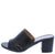 Irene130 Black Laser Cut Open Toe Slide On Block Heel