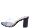 Carmen203 Black Patent Lucite Peep Toe Block Heel - Wholesale Fashion Shoes