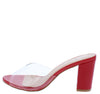 Carmen203 Red Patent Lucite Peep Toe Block Heel - Wholesale Fashion Shoes