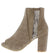 Brenda055 Khaki Sparkle Lace Peep Toe Ankle Boot