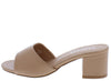 Megan163 Camel Open Toe Slide Low Block Heel - Wholesale Fashion Shoes