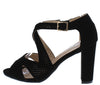 H601 Black Peep Toe Perforated Cut Out Block Heel - Wholesale Fashion Shoes