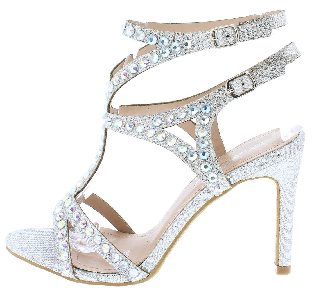 42ac2235137cd9 Riley243 Silver Open Toe Strappy Cut Out Sparkle Heels Only  10.88 -  Wholesale Fashion Shoes