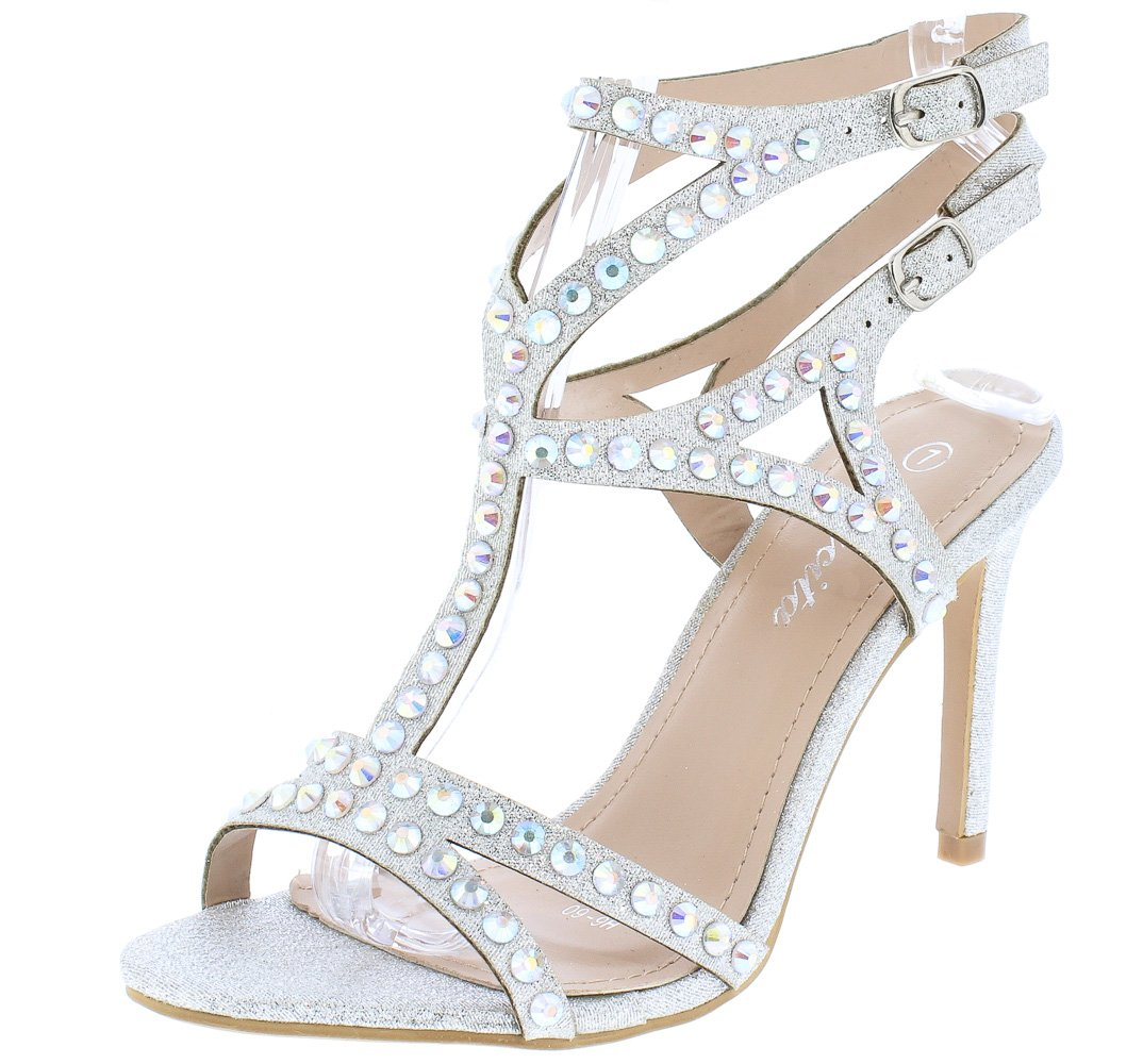 0a40626df15b25 Riley243 Silver Open Toe Strappy Cut Out Sparkle Heel - Wholesale Fashion  Shoes