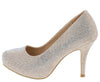 Andrea127 Champagne Embellished Almond Toe Low Platform Heel - Wholesale Fashion Shoes