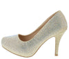 Andrea127 Light Gold Embellished Almond Toe Low Platform Heel - Wholesale Fashion Shoes