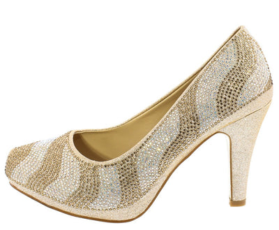 Julian223 Champagne Sparkle Embellished Pointed Toe Pump Heel - Wholesale Fashion Shoes