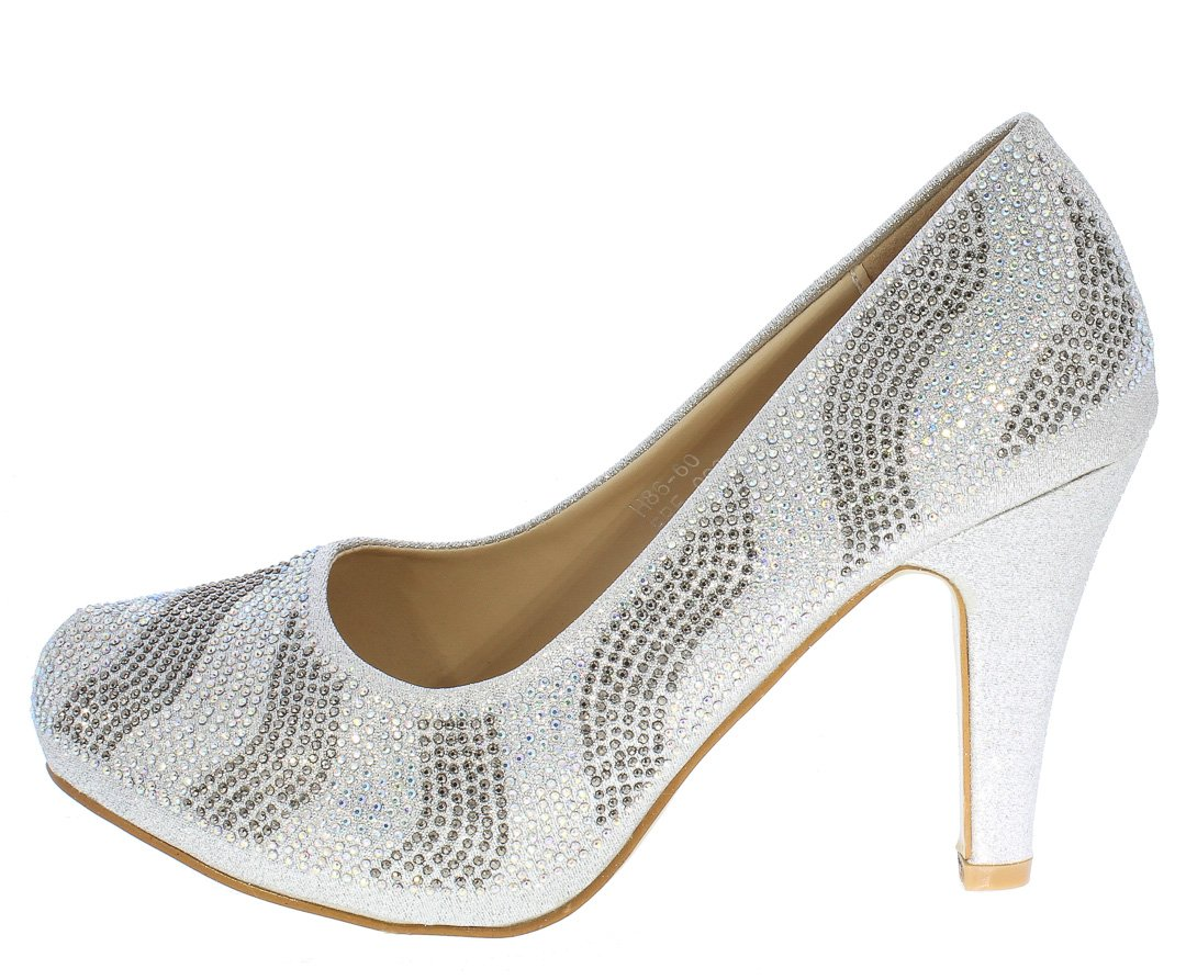 013c017a8f23 Julian223 Silver Sparkle Embellished Pointed Toe Pump Heel Only ...
