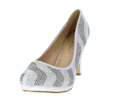 Julian223 Silver Sparkle Embellished Pointed Toe Pump Heel - Wholesale Fashion Shoes