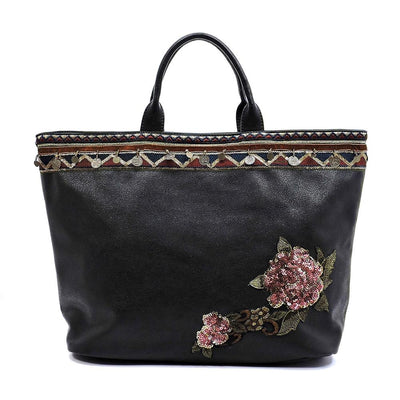 Evelyn233 Black Aztec Border Flower Applique Handbag - Wholesale Fashion Shoes