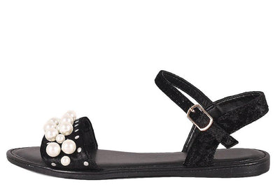 Happiness34s Black Velvet Open Toe Ankle Strap Pearl Sandal - Wholesale Fashion Shoes