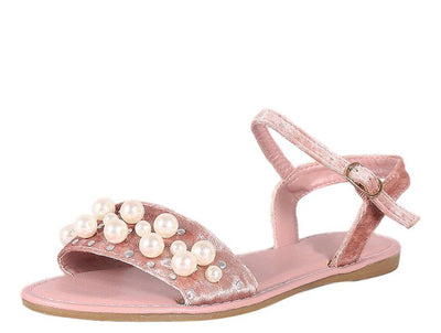 Happiness34s Mauve Velvet Open Toe Ankle Strap Pearl Sandal - Wholesale Fashion Shoes