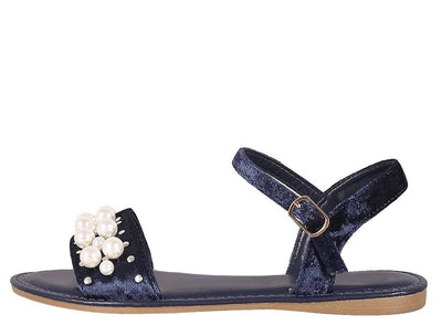 Happiness34s Navy Velvet Open Toe Ankle Strap Pearl Sandal - Wholesale Fashion Shoes