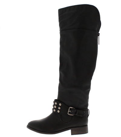 Herley11 Black Studded Riding Boot - Wholesale Fashion Shoes