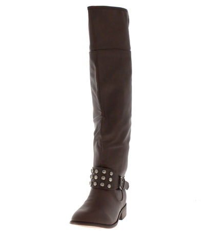 Herley11 Brown Studded Riding Boot - Wholesale Fashion Shoes