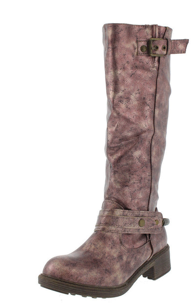 Harley2 Brown Metallic Distressed Boots - Wholesale Fashion Shoes