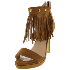 HB58 CAMEL STUDDED FRINGE ANKLE OPEN TOE HEEL - Wholesale Fashion Shoes